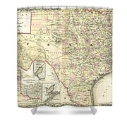 1873 Texas Map By Colton Shower Curtain