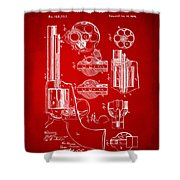 1875 Colt Peacemaker Revolver Patent Red Shower Curtain