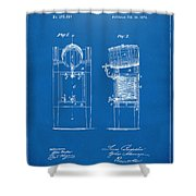 1876 Beer Keg Cooler Patent Artwork Blueprint Shower Curtain