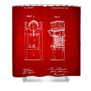 1876 Beer Keg Cooler Patent Artwork Red Shower Curtain