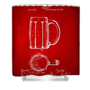 1876 Beer Mug Patent Artwork - Red Shower Curtain
