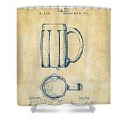 1876 Beer Mug Patent Artwork - Vintage Shower Curtain
