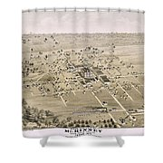 1876 Birds Eye Map Of Mckinney Texas Shower Curtain