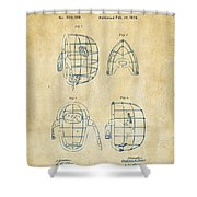 1878 Baseball Catchers Mask Patent - Vintage Shower Curtain by Nikki Marie Smith