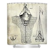 1878 Buoy Patent Drawing Shower Curtain