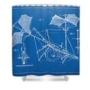 1879 Quinby Aerial Ship Patent Minimal - Blueprint Shower Curtain by Nikki Marie Smith