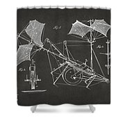 1879 Quinby Aerial Ship Patent Minimal - Gray Shower Curtain by Nikki Marie Smith