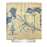 1879 Quinby Aerial Ship Patent Minimal - Vintage Shower Curtain
