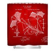 1879 Quinby Aerial Ship Patent - Red Shower Curtain