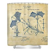 1879 Quinby Aerial Ship Patent - Vintage Shower Curtain by Nikki Marie Smith