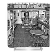 1880 Drug Store Black And White Shower Curtain