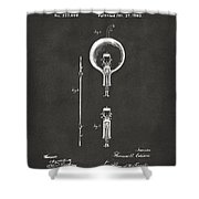 1880 Edison Electric Lamp Patent Artwork - Gray Shower Curtain