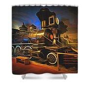 1880 Steam Locomotive  Shower Curtain
