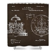 1881 Alexander Graham Bell Electric Call Bell Patent Espresso Shower Curtain