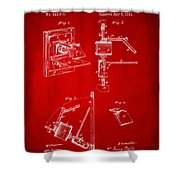 1881 Taylor Camera Obscura Patent Red Shower Curtain