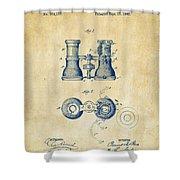 1882 Opera Glass Patent Artwork - Vintage Shower Curtain