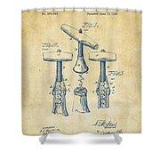 1883 Wine Corckscrew Patent Artwork - Vintage Shower Curtain