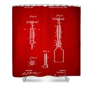 1884 Corkscrew Patent Artwork - Red Shower Curtain