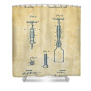 1884 Corkscrew Patent Artwork - Vintage Shower Curtain