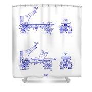 1885 Roller Skate Patent Blueprint Shower Curtain
