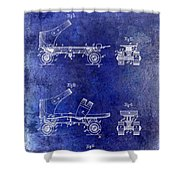 1885 Roller Skate Patent Drawing Blue Shower Curtain
