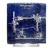 1885 Sewing Machine Patent Drawing Blue Shower Curtain