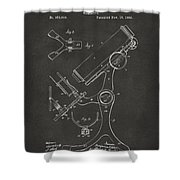 1886 Microscope Patent Artwork - Gray Shower Curtain