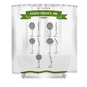 1886 Tennis Racket Patent Drawing - Retro Green Shower Curtain