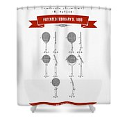 1886 Tennis Racket Patent Drawing - Retro Red Shower Curtain
