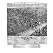 1886 Vintage Map Of Waco Texas Shower Curtain