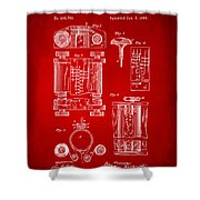 1889 First Computer Patent Red Shower Curtain