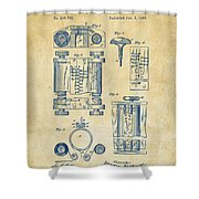 1889 First Computer Patent Vintage Shower Curtain