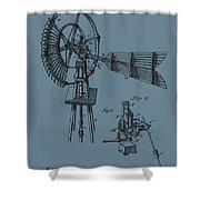 1889 Windmill On Blue Shower Curtain