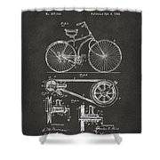 1890 Bicycle Patent Artwork - Gray Shower Curtain