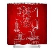 1890 Bottling Machine Patent Artwork Red Shower Curtain