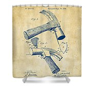 1890 Hammer Patent Artwork - Vintage Shower Curtain