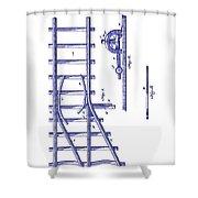 1890 Railway Switch Patent Blueprint Shower Curtain