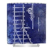 1890 Railway Switch Patent Drawing Blue Shower Curtain