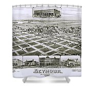 1890 Vintage Map Of Seymour Texas Shower Curtain