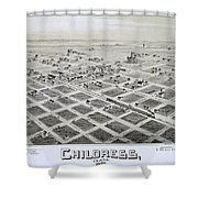 1890 Vintage Map Of Childress Texas Shower Curtain