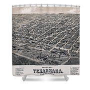 Vintage Perspective Map Of Texarkana Shower Curtain