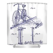 1891 Bicycle Patent Blueprint Shower Curtain