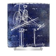 1891 Bicycle Patent Drawing Blue Shower Curtain