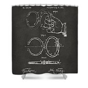 1891 Police Nippers Handcuffs Patent Artwork - Gray Shower Curtain