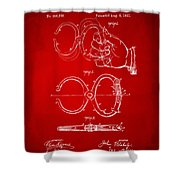 1891 Police Nippers Handcuffs Patent Artwork - Red Shower Curtain
