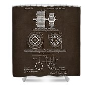 1891 Tesla Electro Magnetic Motor Patent Espresso Shower Curtain