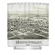 1891 Vintage Map Of Whitewright Texas Shower Curtain