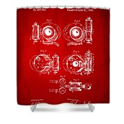 1892 Barker Camera Shutter Patent Red Shower Curtain