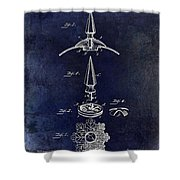 1892 Motorcycle Helmet Spike Patent Drawing Blue Shower Curtain