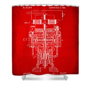 1894 Tesla Electric Generator Patent Red Shower Curtain by Nikki Marie Smith